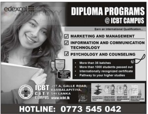 ICBT City Campus offers wide range of Diploma programme for Marketing, Management, Information & Communication Technology, Psychology and Counseling. For more information contact to ICBT City Campus at 317 A, Galle Road, Bambalapitiya, Sri Lanka