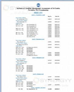 Institute of Certified Management Accountants (CMA Srilanka) of Sri Lanka November 2013 Examination