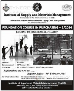 Purchasing and Supplies management courses in Sri Lanka - Foundation Course in Purchasing 12014