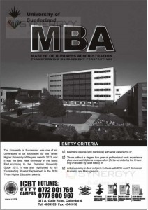 University of Sunderland MBA from ICBT City Campus