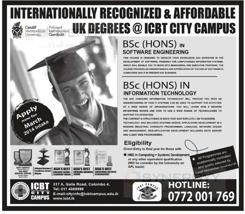 Icbt Bachelor Degree Programmes March 2014 Intakes