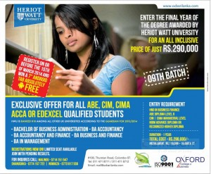 Top up Degree Programme of Heriot Watt University in Sri Lanka