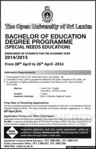 Bachelor of Education Degree Programme by Open University of Sri Lanka – Applications call 26th April 2014
