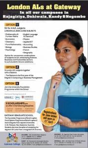 London ALs at Gateway College in Srilanka