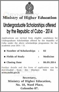 Republic of Cuba Medicine Scholarship for Srilankan Students – Apply on or before 06th May 2014