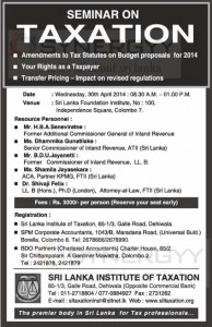 Seminar on Taxation – on 30th April 2014