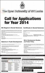 Social Science Degree Programmes from The Open University of Srilanka - 26th April 2014