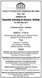 Sustainable Technology for Structures  Buildings Seminar on20th May 2014