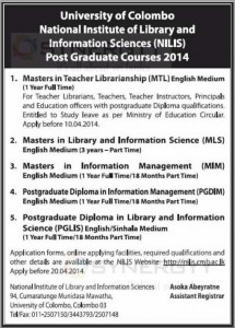 University of Colombo National Institute of Library and Information Sciences (NILIS) Post Graduate Courses 2014