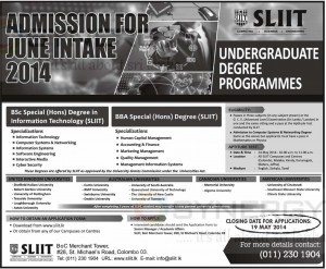 SLIIT Undergraduate Degree Programme applications calls now – Closing date – 19th May 2014
