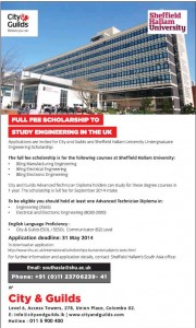 Sheffield Hallam University Full Scholarship – Applications calls till 31st May 2014
