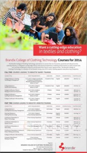 Brandix College of Clothing Technology – Courses details and Fees are attached