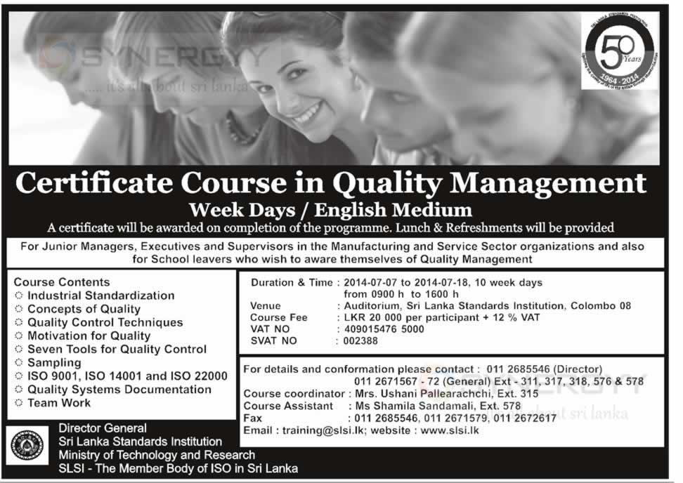 certificate course in quality management week days english  certificate course in quality management week days english medium by srilanka standard institution