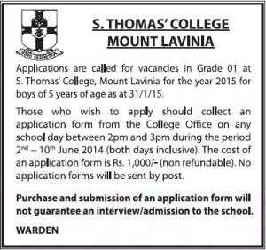 Grade 1 Applications - 2015 intake for S. Thomas' College Mount Lavinia calls now – Apply between 2nd June to 10th June 2014