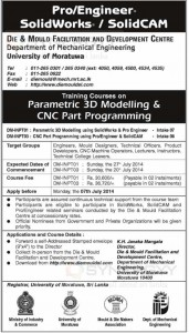 Training Courses on Parametric 3D Modelling & CNC Part Programming by University of Moratuwa
