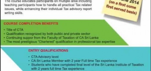Chartered Tax Advisor in Srilanka from Chartered Institute of Accountants of Srilanka