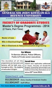 Masters Degree Programme of General Sir John Kotelawala Defence University