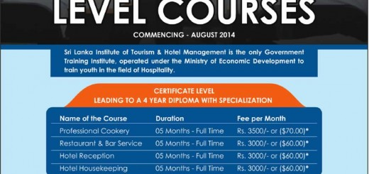 Sri Lanka Institute of Tourism & Hotel Management – Certificate Level Courses Commence on August 2014