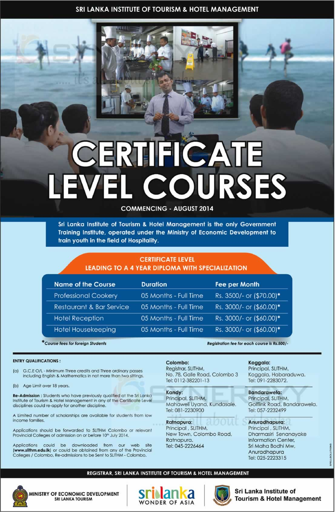 Sri Lanka Institute Of Tourism Hotel Management Certificate