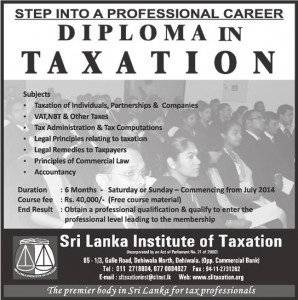 Diploma in Taxation by Sri Lanka Institute of Taxation