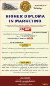 Higher Diploma in Marketing by University of Kelaniya