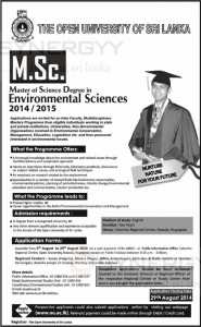 Master of Science Degree in Environmental Sciences from Open University of Sri Lanka