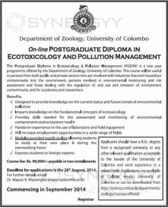 On-line Postgraduate Diploma in Ecotoxicology and Pollution Management by University of Colombo – Applications call Now Apply on or before 29th August 2014