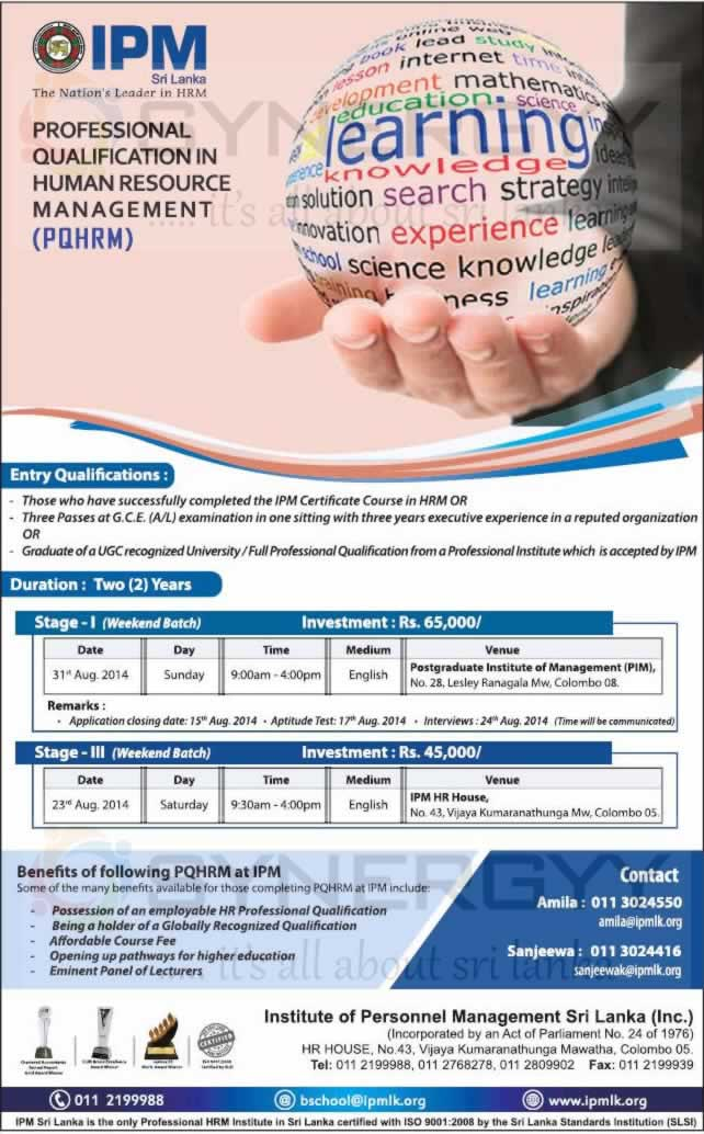 Professional Qualification In Human Resource Management Pqhrm From
