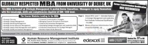 University of Derby, UK MBA Degree programme in Sri Lanka from Human Resource Management Institute