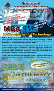 University of Moratuwa MBA in Management of Technology – Application called till 15th August 2014