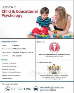 Diploma in Child & Educational Psychology from Colombo Institute of Research & Psychology