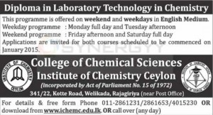 Diploma in Laboratory Technology in Chemistry – Applications Calls Now