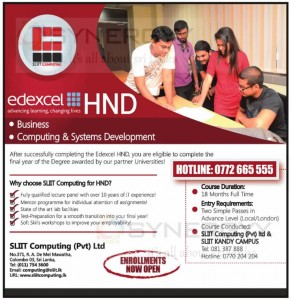 SLIIT Computing Edexcel HND Programme on Business and Computing & Systems Development