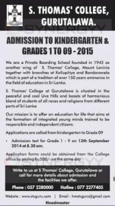 St. Thomas' College, Gurutalawa - Admission to Kindergarten & Grades 1 to 09 – for 2015