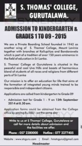 St. Thomas' College, Gurutalawa - Admission to Kindergarten & Grades 1 to 09 – for 2015