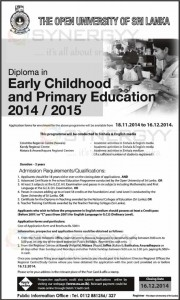 Diploma in Early Childhood and Primary Education- 2014  2015 – From The Open University of Sri Lanka