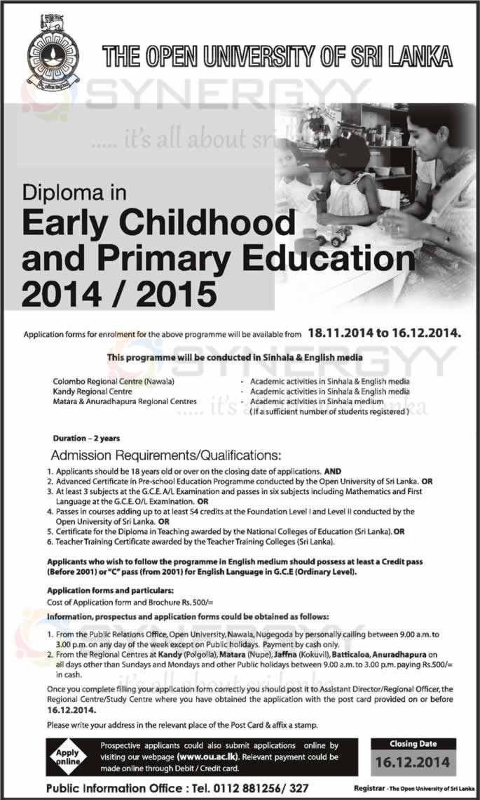 Diploma In Early Childhood And Primary Education 2014 2015 From