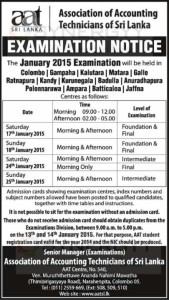 AAT January 2015 Examination Time Table – 17th to 25th January 2015