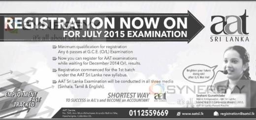 AAT Sri Lanka registration now on for July 2015 examination