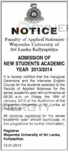 Admission of New Students Academic Year 20132014 to Faculty of Applied Sciences Wayamba University of Sri Lanka Kuliyapitiya