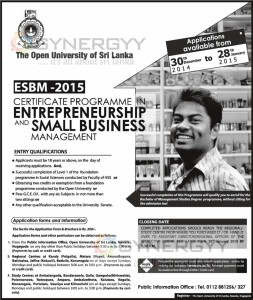 Certificate Programme in Entrepreneurship and Small Business Management by The Open University of Sri Lanka