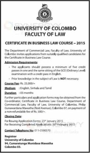 Certificate in Business Law Course - University of Colombo Faculty of Law