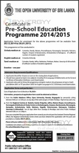 Certificate in Pre-School Education Programme 20142015 by the Open University of Sri Lanka – Application calls now