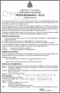 Colombo University PhD in Economics – 2015 – Application Calls now till 6th February 2015