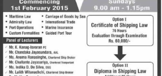 Course on Shipping Law & Practice 2015 – Commence on 1st February 2015