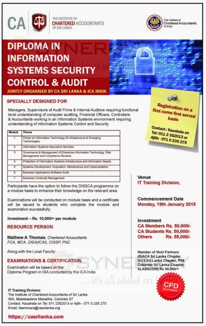 Diploma In Information Systems Security Control Amp Audit By