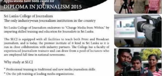 Diploma in Journalism 2015 – Application Calls now till 31st January 2015