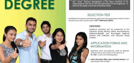 Management Degree from the Open University of Sri Lanka – Application Calls now