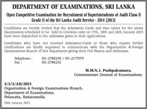 Open Competitive Examination for Recruitment of Superintendents of Audit Class II Grade II of the Sri Lanka Audit Service - 2014 (2015)