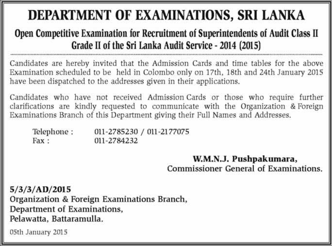 Enter correct email department of examination sri lanka 2014 SEW reports